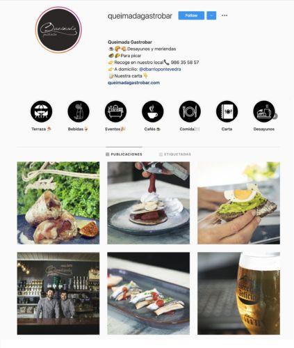 Portada de Instagram de Queimada Gastrobar. Gestión de Redes Sociales.