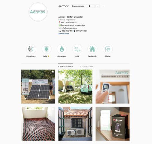Portada de Instagram de Aermov confort ambiental. Gestión de Redes Sociales.