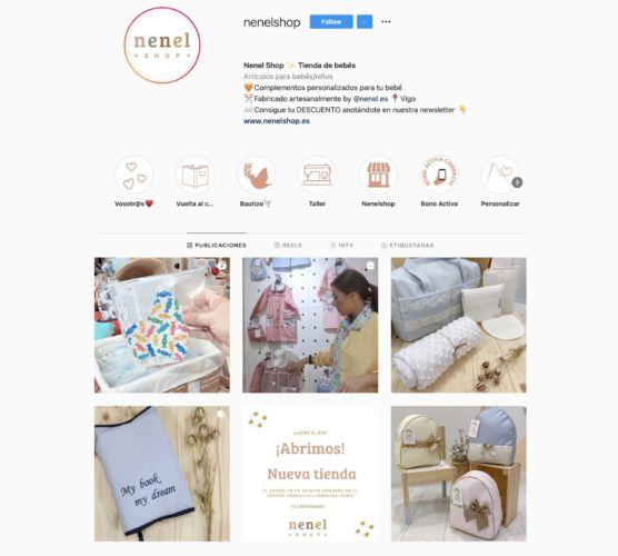 Portada de Instagram de Nenel shop. Gestión de Redes Sociales.